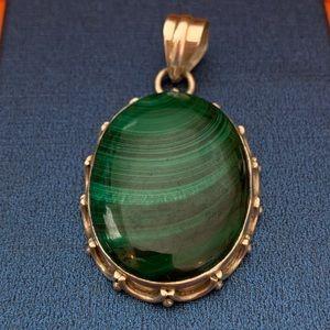 Jewelry - Sterling Silver Green Malachite Pendant